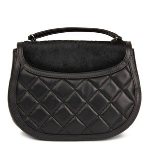 CHANEL Bags - CHANEL BLACK QUILTED LAMBSKIN & PONY SADDLE BAG
